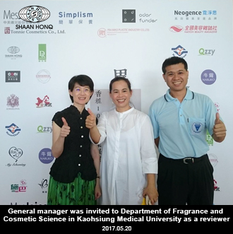 General manager was invuted to Department of Fragrance and Cosmetic Science in Kaohsiung Medical University as a reviewer